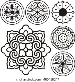 Korean traditional symbol vector image, Korean tradition flower pattern, convex tiles