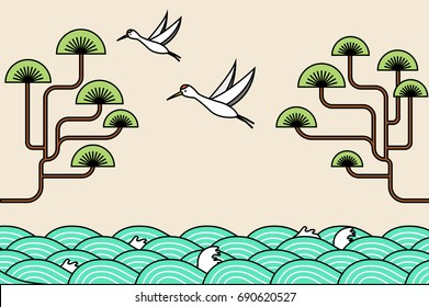 Korean Traditional theme vector illustration.