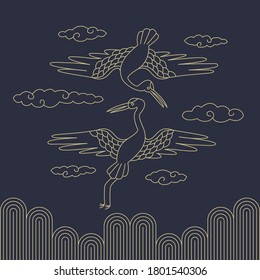 Korean traditional vector illustration. Crane and clouds line drawing.