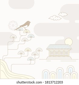 Korean traditional vector illustration with a magpie on the pine trees and a traditional house. - Shutterstock ID 1813712203