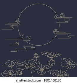 Korean traditional vector illustration. Moon and lotus.
