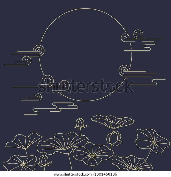 Korean traditional vector illustration. Moon and lotus.