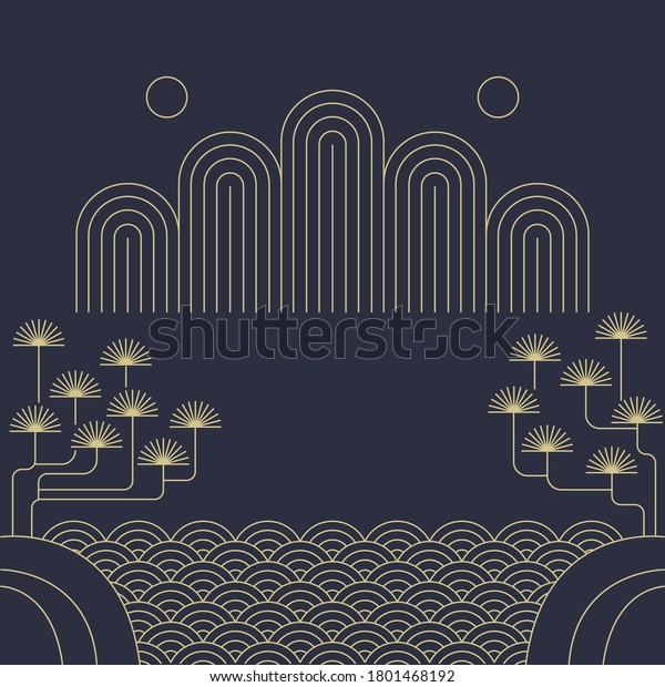 Korean traditional vector illustration. Mountain, Pine tree, sea line drawing.
