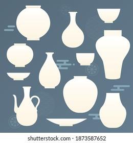 Korean traditional vector illustration with white ceramics.