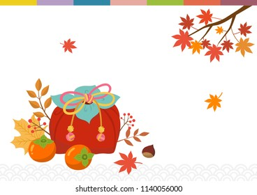 Korean traditional wrapping gift box and persimmon with autumn leaves.Mid Autumn Festival(Chuseok) Background