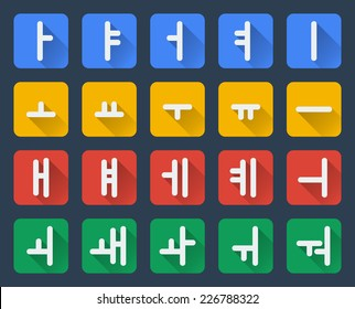Korean vector alphabet set in flat style