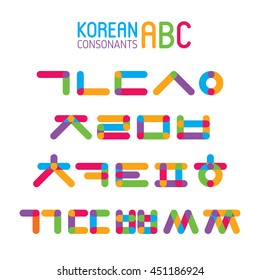 Korean vector alphabet set.Hangul consonants in flat style