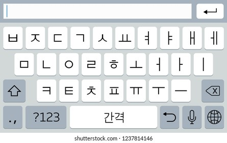 Korean virtual smartphone keyboard