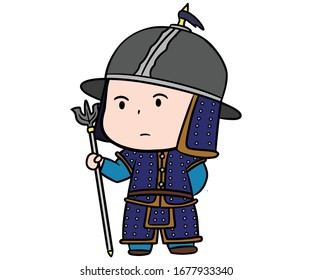 Korean warrior in armor stand with weapon