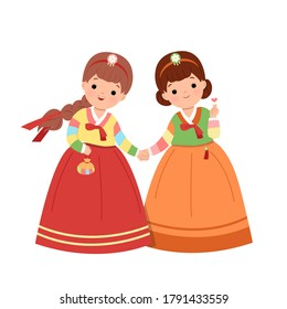Korean womans holding hands together in traditional korean hanbok dress. Girl friend celebrating Korean national holiday clip art. Flat style vector isolated on white background.