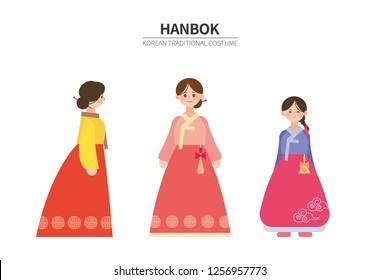 Korean Women 's Traditional Costume (Hanbok). Character vector illustration EPS10