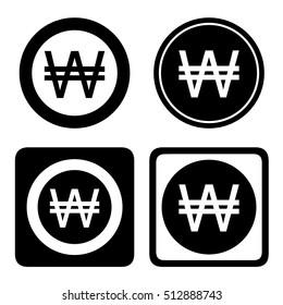 Korean Won cashier icon set. KRW currency symbol set, vector illustration.