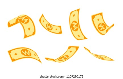 Korean won falling set, animation ready. WON paper notes flying in the air. Korea money in seven different positions isolated on white background. Cartoon vector illustration.