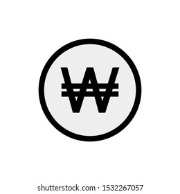 Korean Won icon isolated on white background. Korean Won icon trendy and modern. Korean Won cashier. Icon isolated sign symbol and flat style for app, web and digital design. Vector illustration.