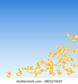 Korean won notes falling. Sparse WON bills on blue sky background. Korea money. Dazzling vector illustration. Ecstatic jackpot, wealth or success concept.