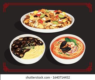 Korean-style Chinese cuisine, Janjangmyeon, jjamppong, sweet and sour pork vector illustration.