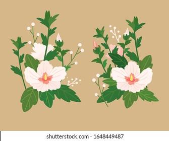 Korea's national flower, rose of sharon. Hand drawn vector illustration.
