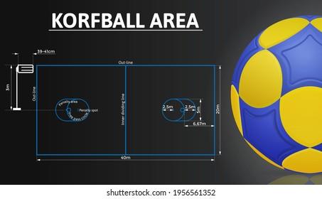 Korfball court and korfball ball realistic details. Sport background. Vector illustration.