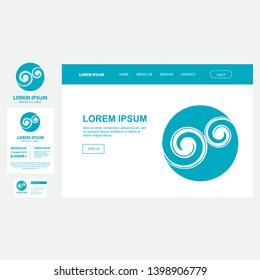 koru, maori spiral symbol represents silver fern frond, vector business set