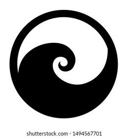 Koru spiral icon in black stylised maori tribal tattoo New Zealand Kiwiana style logo