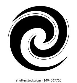 Koru spiral icon in black stylised maori logo or tattoo New Zealand Kiwiana style
