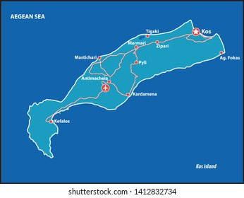 Kos Island Vector Map Greece. This is a very detailed map of Kos Island in Greece Aegean sea. It has a layer with roads and major cities.