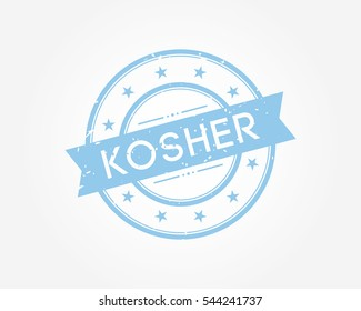 kosher. blue stamp sign vector