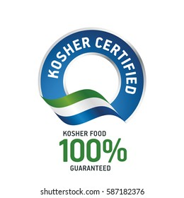 Kosher certified blue ribbon label logo icon
