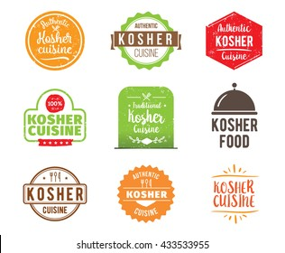 Kosher cuisine, authentic traditional jewish food typographic design set. Kosher food vector logo, label, tag or badge for restaurant and kosher menu. Isolated.