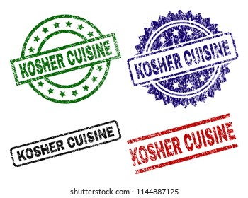 KOSHER CUISINE seal prints with distress texture. Black, green,red,blue vector rubber prints of KOSHER CUISINE text with dirty texture. Rubber seals with round, rectangle, medal shapes.
