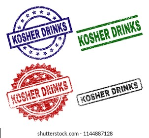 KOSHER DRINKS seal prints with damaged texture. Black, green,red,blue vector rubber prints of KOSHER DRINKS caption with scratched texture. Rubber seals with round, rectangle, rosette shapes.