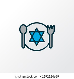Kosher food icon colored line symbol. Premium quality isolated meal element in trendy style.