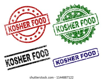 KOSHER FOOD seal prints with damaged surface. Black, green,red,blue vector rubber prints of KOSHER FOOD label with scratched surface. Rubber seals with round, rectangle, rosette shapes.