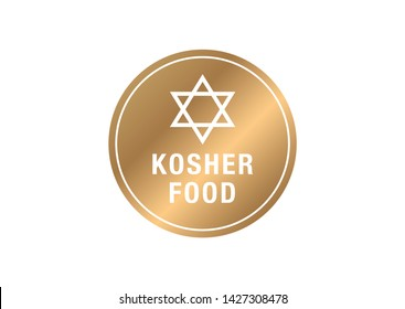 Kosher food  vector sign. Gold  vector sign with kosher food text. Certified kosher sign.