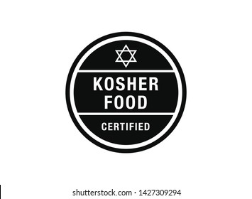 Kosher food  vector sign. vector sign with kosher food text. Certified kosher sign.