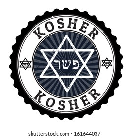 Kosher grunge rubber stamp on white, vector illustration