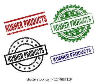 KOSHER PRODUCTS seal prints with corroded style. Black, green,red,blue vector rubber prints of KOSHER PRODUCTS label with dust style. Rubber seals with circle, rectangle, medallion shapes.