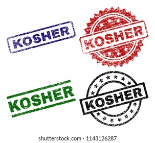 KOSHER seal prints with corroded texture. Black, green,red,blue vector rubber prints of KOSHER label with corroded style. Rubber seals with round, rectangle, medallion shapes.