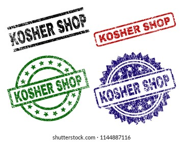 KOSHER SHOP seal prints with damaged style. Black, green,red,blue vector rubber prints of KOSHER SHOP caption with corroded style. Rubber seals with circle, rectangle, medallion shapes.