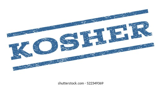 Kosher watermark stamp. Text caption between parallel lines with grunge design style. Rubber seal stamp with scratched texture. Vector cobalt blue color ink imprint on a white background.