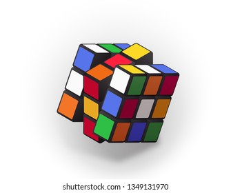 Kosice, Slovakia - March 20th 2019: Rubik's Cube with rotated sides. Combination puzzle invented in 1974 by Erno Rubik. Editorial vector isometric illustration
