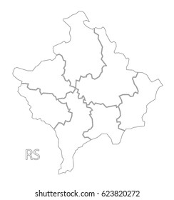kosovo region map images stock photos vectors shutterstock Apennine Peninsula Map kosovo outline silhouette map illustration with districts