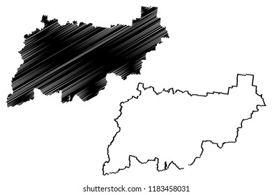 Kostroma Oblast (Russia, Subjects of the Russian Federation, Oblasts of Russia) map vector illustration, scribble sketch Kostroma Oblast map
