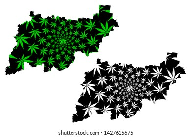 Kostroma Oblast (Russia, Subjects of the Russian Federation, Oblasts of Russia) map is designed cannabis leaf green and black, Kostroma Oblast map made of marijuana (marihuana,THC) foliage