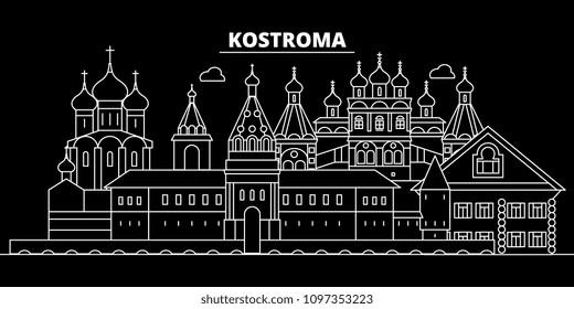 Kostroma silhouette skyline. Russia - Kostroma vector city, russian linear architecture, buildings. Kostroma travel illustration, outline landmarks. Russia flat icon, russian line banner