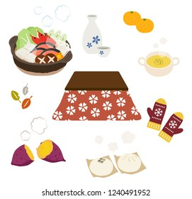"""Kotatsu and warm food in winter """"kotatsu"""" is japanease traditional Heating equipment.""""sake"""" is japanease traditional alcohol drink"""