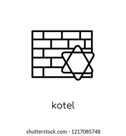 Kotel icon. Trendy modern flat linear vector Kotel icon on white background from thin line Religion collection, editable outline stroke vector illustration