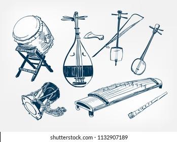 koto sanshin taiko drum Kotsuzumi kokyu fue flute japanese vector sketch illustration engraved chinese musical instrument design elements