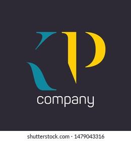 KP company logo design. Monogram. Letters K and P.