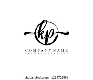 KP initial handwriting logo circle template vector